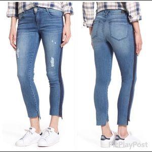 Wit & Wisdom Side Stripe Jeans Ankle Raw Hem